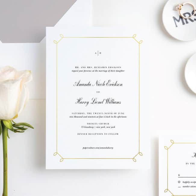 Foil Elegant Scroll Wedding Invitation Suites - Yellow