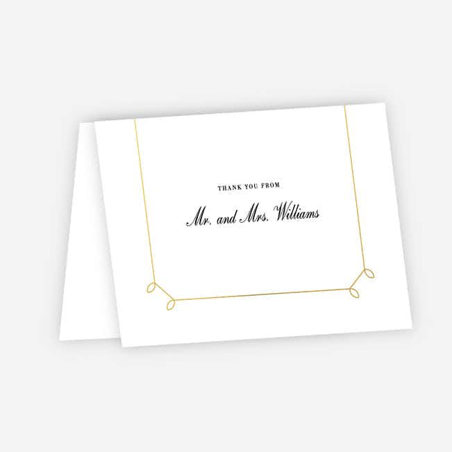 Foil Elegant Scroll Wedding Thank You Cards - Yellow