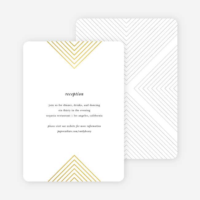 Foil Mirrored Angles Wedding Information Cards - Yellow