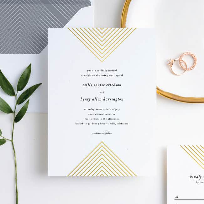 Foil Mirrored Angles Wedding Invitation Suites - Yellow