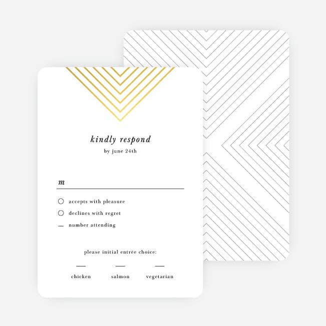 Wedding Response Cards.Foil Mirrored Angles