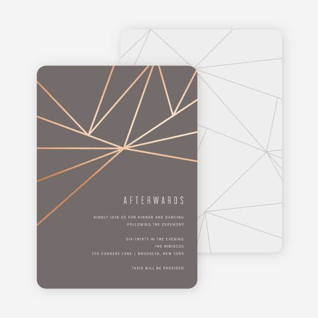 Foil Shining Facets Wedding Information Cards - Brown