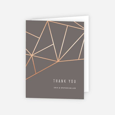 Foil Shining Facets Wedding Thank You Cards Brown