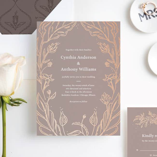 Foil Surroundings Wedding Invitation Suites - Brown