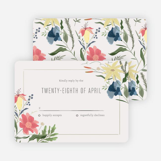herbs wildflowers wedding response cards paper culture