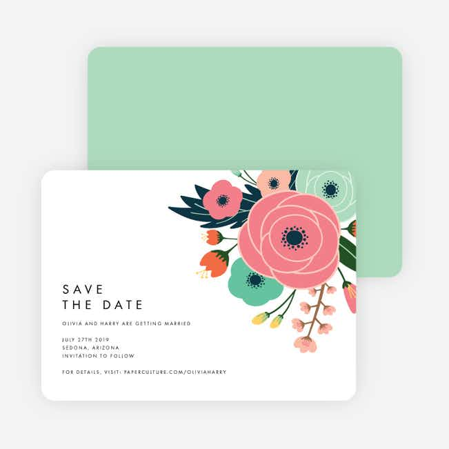 Modern Bouquet Save the Date Cards - Green