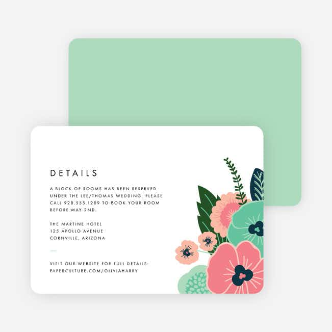 Modern Bouquet Wedding Information Cards - Green