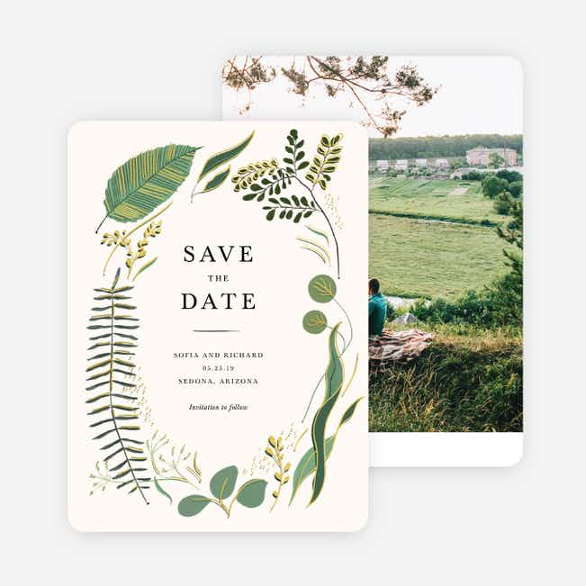 Rustic Forest Save the Date Cards - Yellow