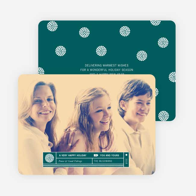 Family Label Holiday Photo Cards - Blue