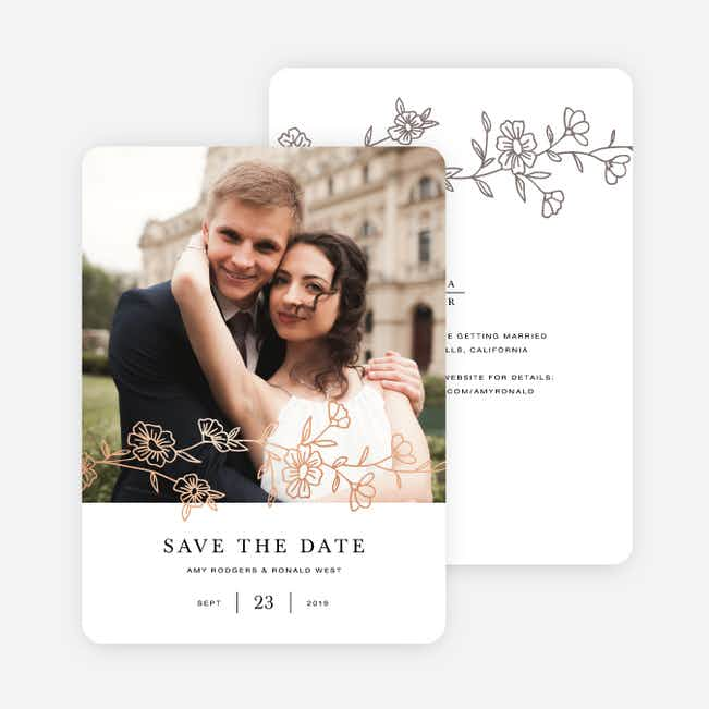 Elegant Roses Save the Date Cards - Brown