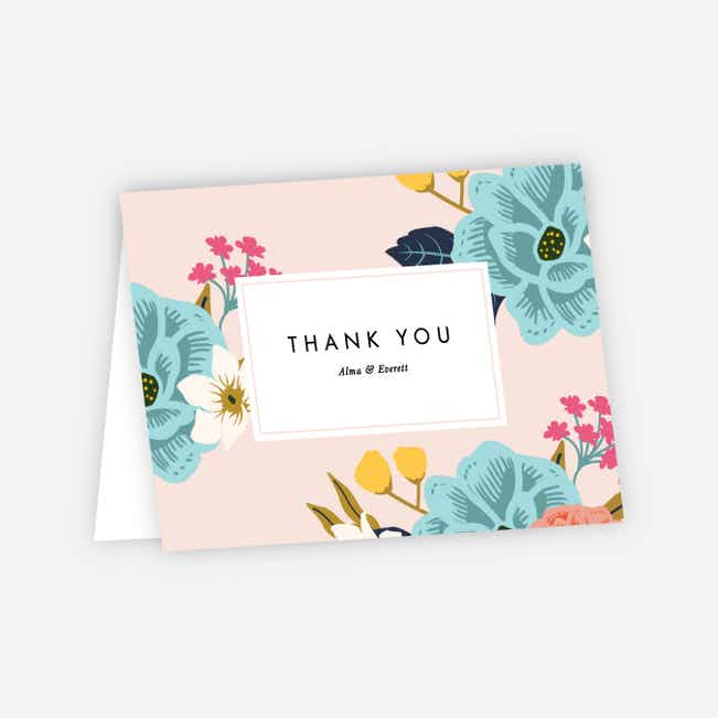 Floral Patterns Wedding Thank You Cards - Pink