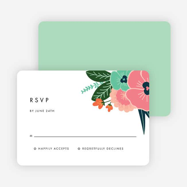 Modern Bouquet Wedding Response Cards - Green
