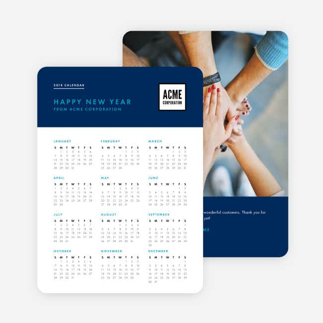 Work Calendar Corporate Holiday Cards - Blue