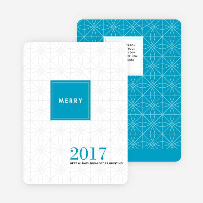 Abstract Ornaments Corporate Holiday Cards - Blue