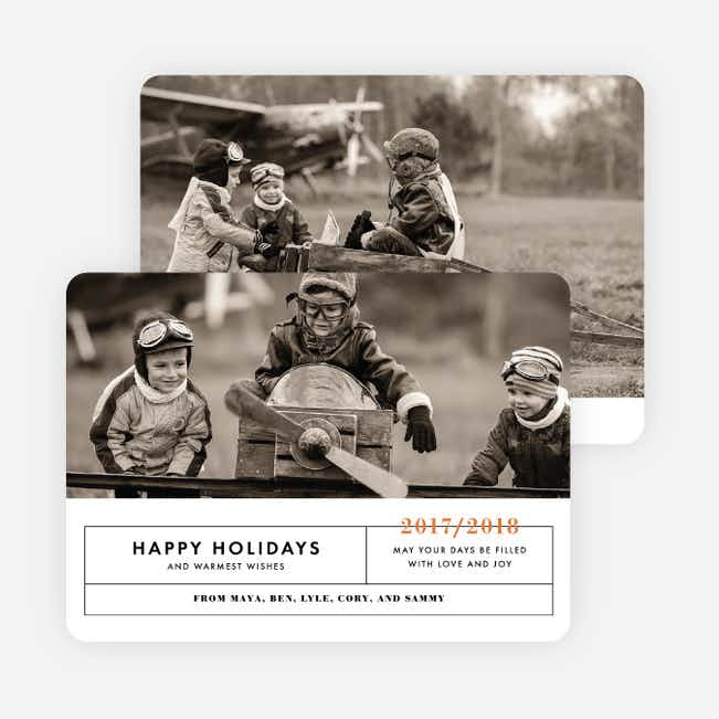 Banner Year Family Photo Cards - Orange