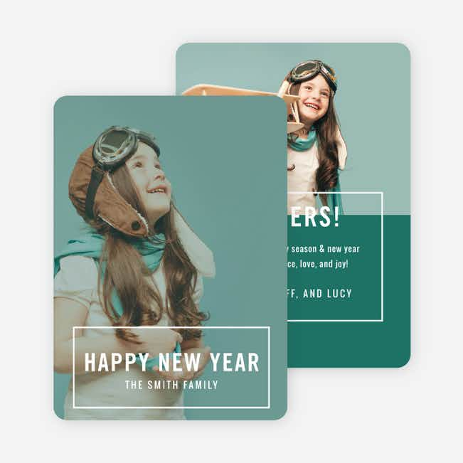 Outline Wishes New Year Cards - White