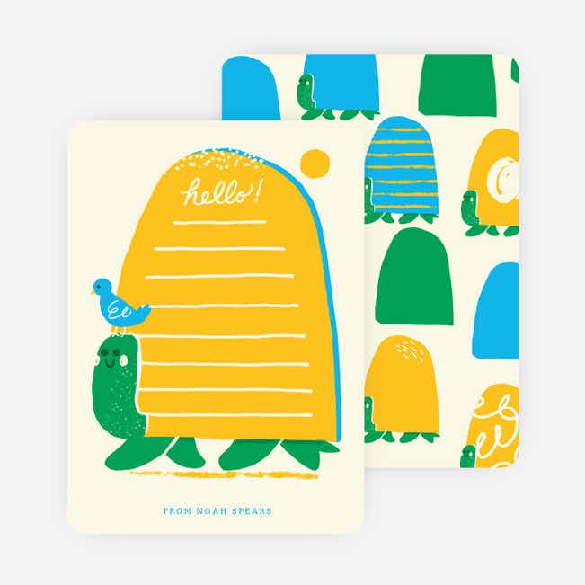 Turtles and Bird Stationery - Yellow