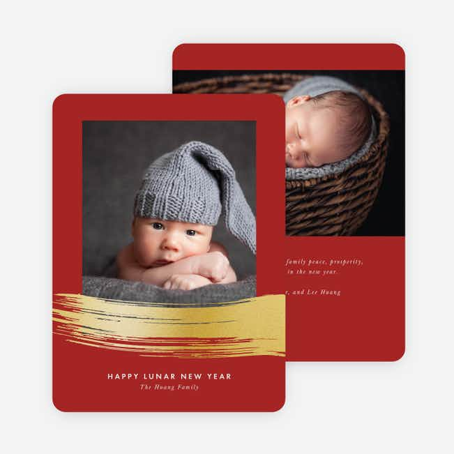 Foil Brushstrokes Chinese New Year Cards - Red