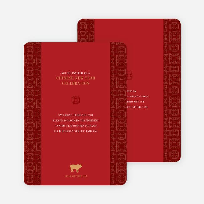 Year Of The Pig Traditional Chinese New Year Cards Paper Culture