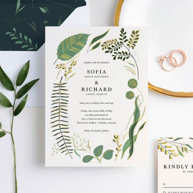 Rustic Forest Wedding Invitation Suites - Yellow