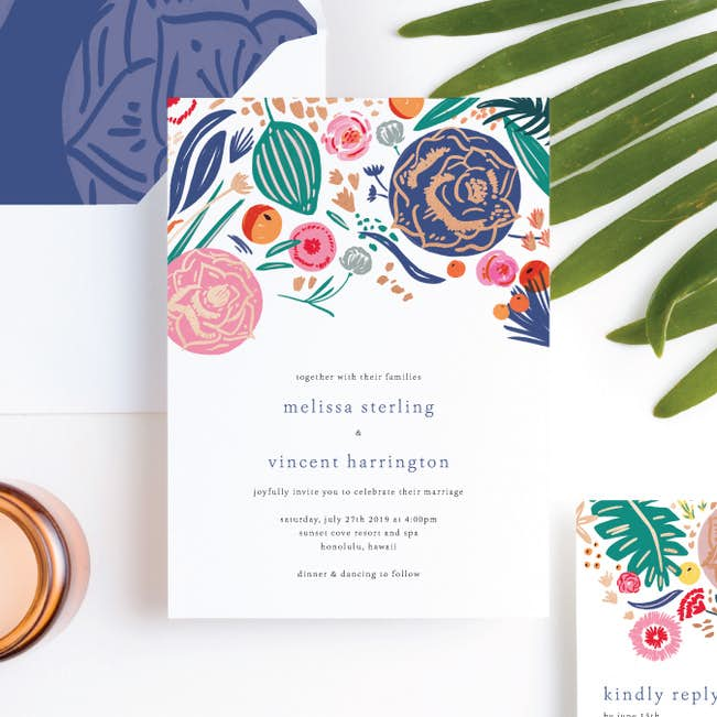 Tropical Print Wedding Invitation Suites Paper Culture