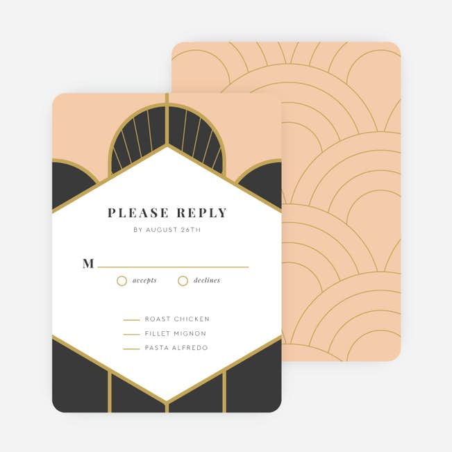 deco arches wedding response cards paper culture