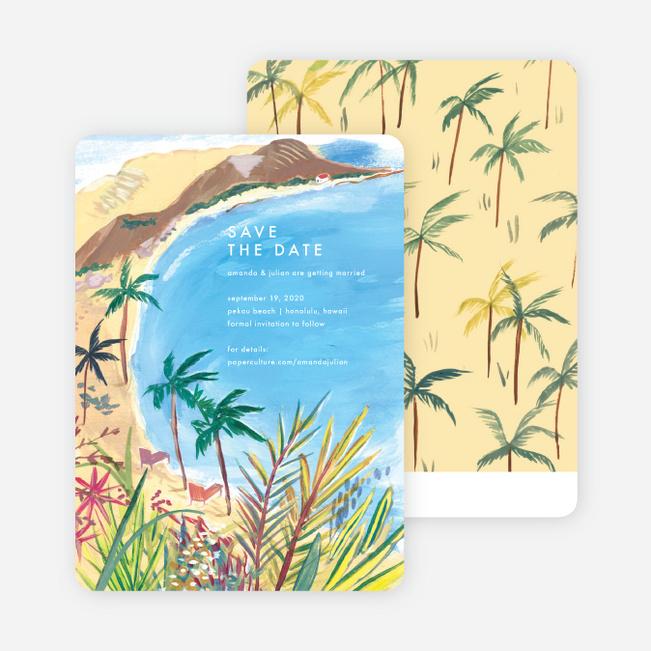 Palm Tree Love Beach Romantic Wedding Day Customised Card