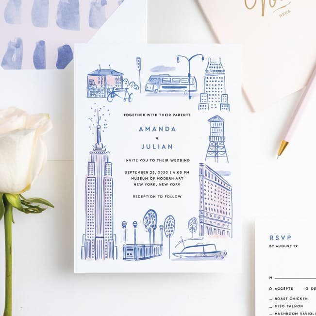 Nyc Landmarks Wedding Invitation Suites Paper Culture