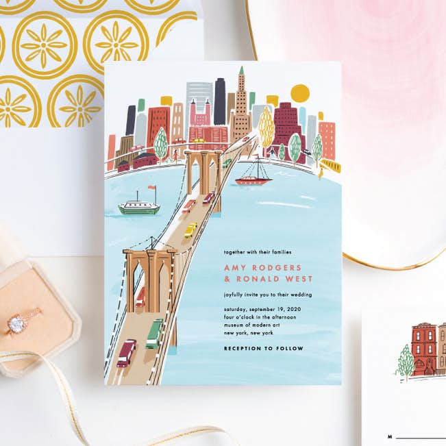 Brooklyn Bridge Views Wedding Invitation Suites Paper Culture