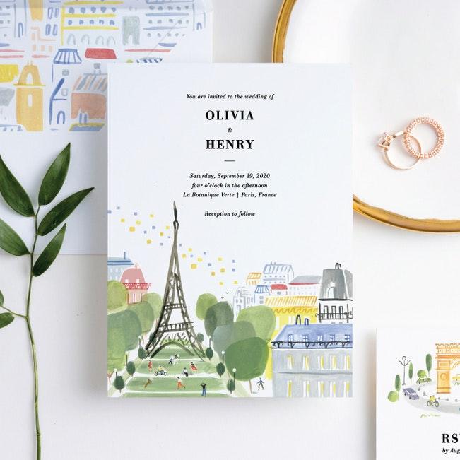 Paris Connection Wedding Invitation Suites Paper Culture