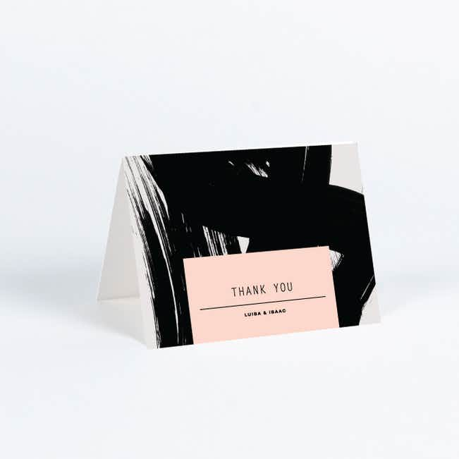 Bold Strokes Wedding Thank You Cards - Pink
