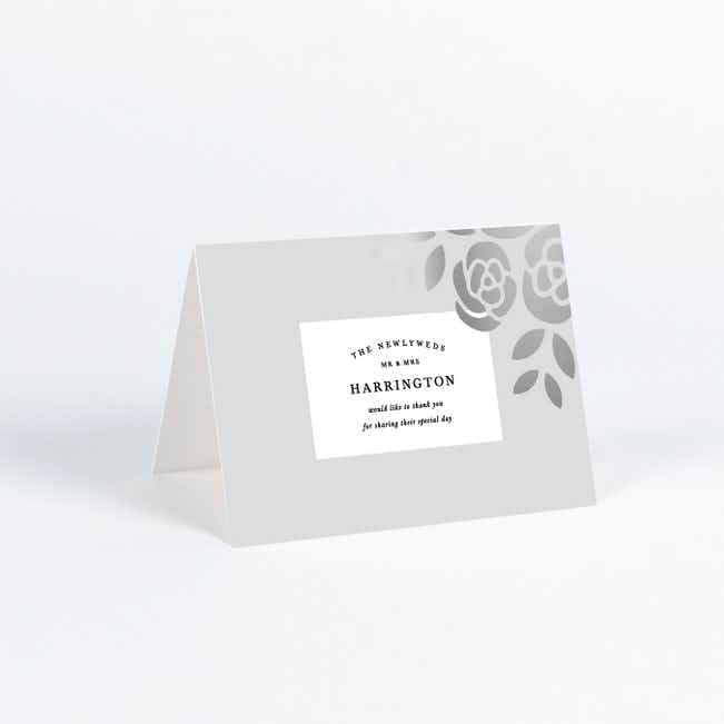 Coming Up Roses Wedding Thank You Cards - Black