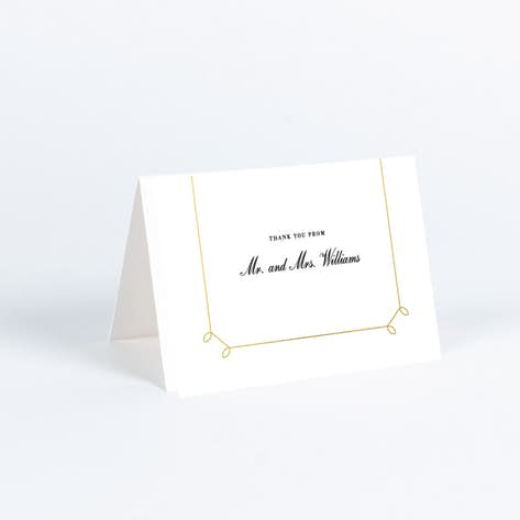 foil elegant scroll wedding thank you cards yellow - Note Cards