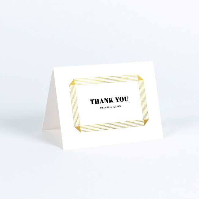 Foil On a Scroll Wedding Thank You Cards - White