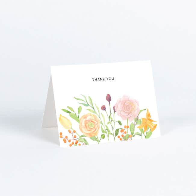 Framed Bouquet Wedding Thank You Cards - Multi
