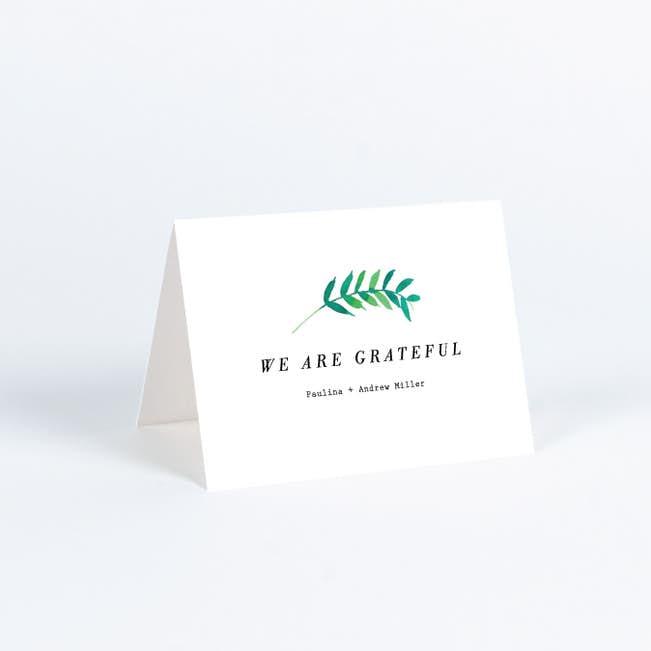 Minimal Laurel Wedding Thank You Cards Paper Culture