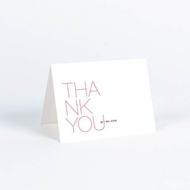 Stacked Type Wedding Thank You Cards - Pink