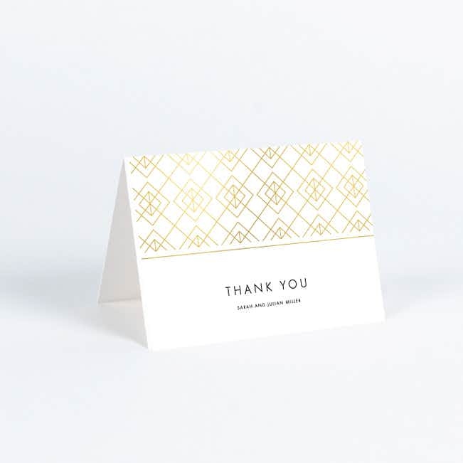 Union of Squares Wedding Thank You Cards - Yellow