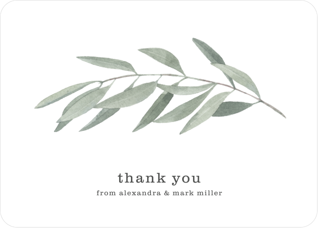 Rustic Vintage Watercolour Olive Personalized Wedding Thank You Cards