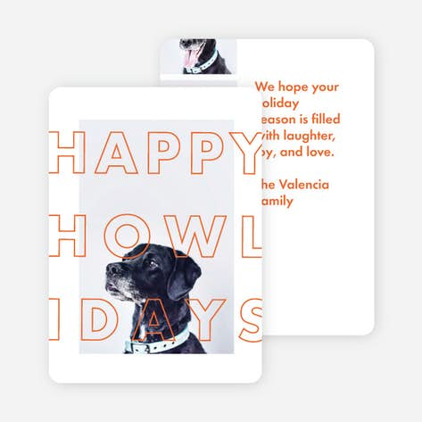 happy howlidays multi photo holiday cards orange - Pet Holiday Cards