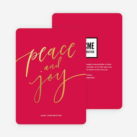foil classic message business and corporate holiday cards red - Business Holiday Card Messages