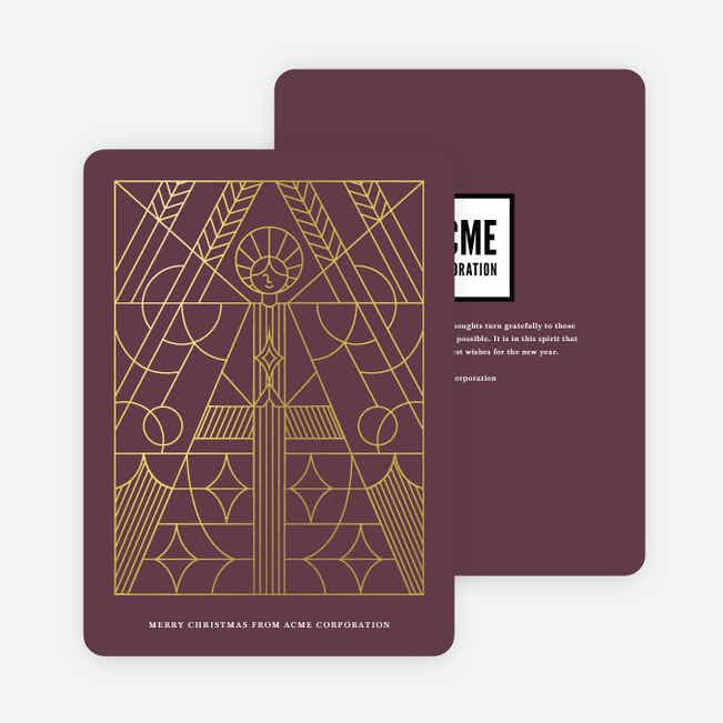 Foil Holy Angel Business and Corporate Holiday Cards - Purple