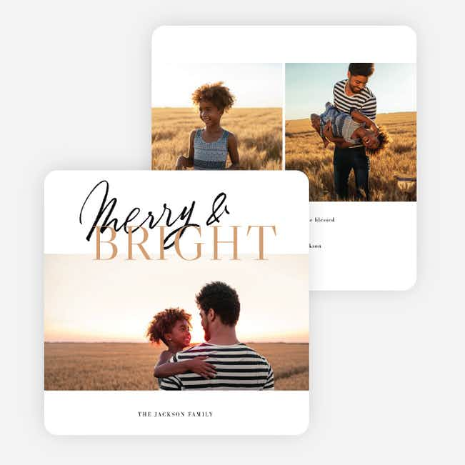 Overlapping Script Multi Photo Holiday Cards - Brown
