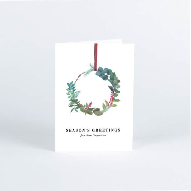 Natural Wreath Business and Corporate Holiday Cards - Red