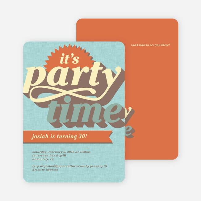 retro party invitations paper culture