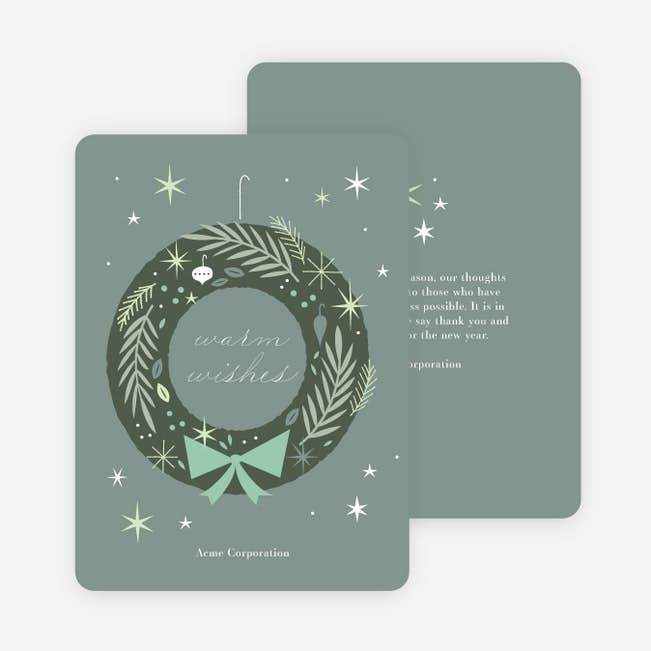 Snazzy wreath business and corporate holiday cards paper culture snazzy wreath main colourmoves