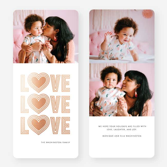 Love Always Wins Multi Photo Holiday Cards - Pink