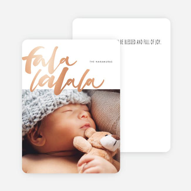 foil falala main rose foil - Foil Christmas Cards