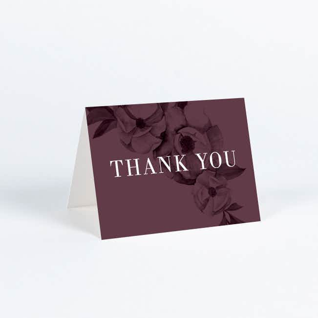Vintage Wallpaper Wedding Thank You Cards - Purple