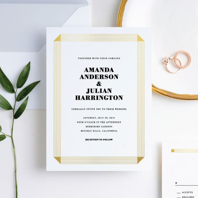 foil on a scroll wedding invitation suites paper culture